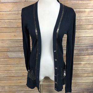 Buckle Boutique Navy Sequined Cardigan L